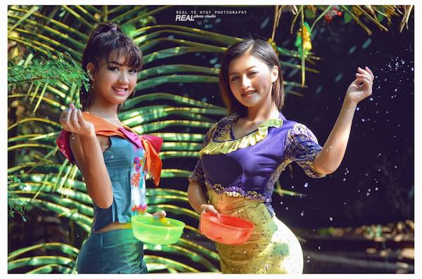 Two beautiful Myanmar girls